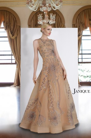 Mother of the Bride gown. Sheer nude beaded gown with no sleeve. Nude long dress with heavy embroidery by Janique. Evening wear sleeveless long dress.