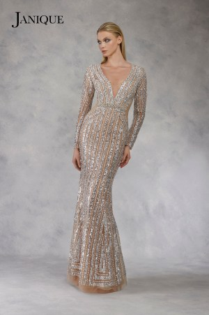 Covered beaded long sleeve gown in silver. Long dress with heavy embroidered sleeves. Designer dress fully covered in sequin.