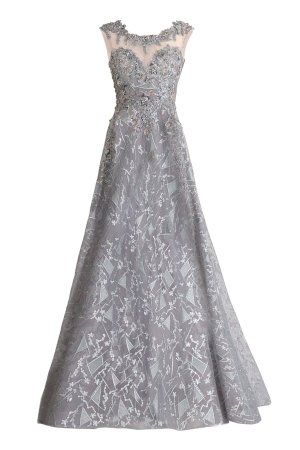 Lace beaded gown in gray. Embroidered lace long dress by Janique in gray. Designer lace beaded sleeveless long gown.