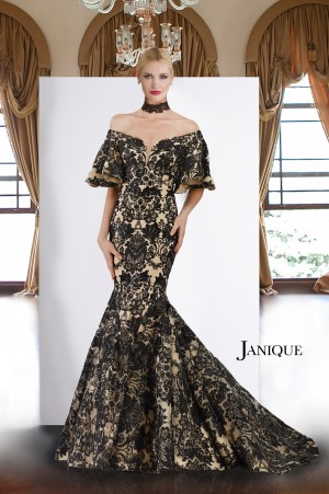 Red Carpet dress. Off shoulder dress with embroidery lace. Black and nude mermaid dress by Janique. Lace gown with ruffle half sleeve.