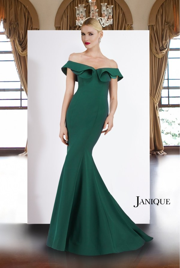 Ruffled neckline off the shoulder gown. Designer stretch crepe long gown with train in green. Off the shoulder long dress.