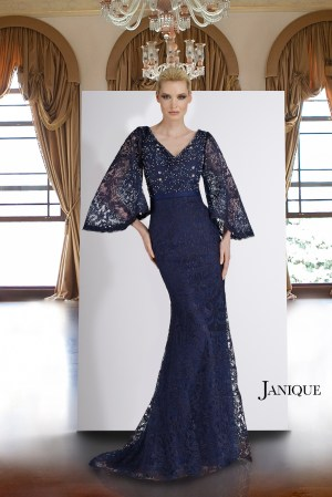 Navy lace beaded gown with sleeves. Modest long dress with beaded neckline in navy. Designer lace dress with sleeves in navy.
