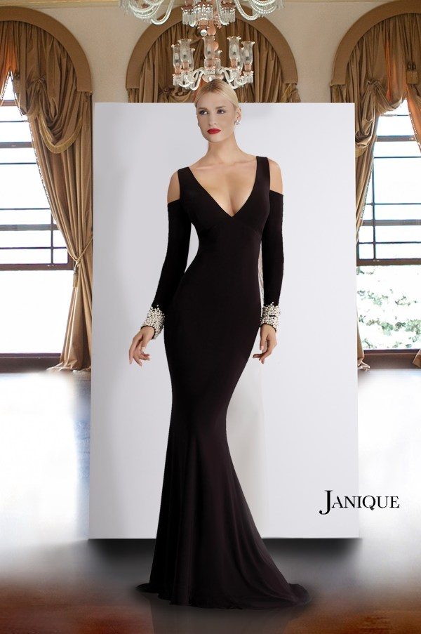 V-neck Special Occasion Couture. Pearl cuffs jersey long dress. Cold shoulder long sleeve gown with beaded cuffs. Designer long sleeve dress in black.
