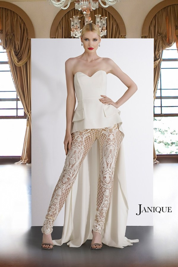Designer Bridal dress. Stretch crepe jumpsuit top with lace pants and draping train. Ivory lace pants with tuxedo top. Jumpsuit with train in ivory.