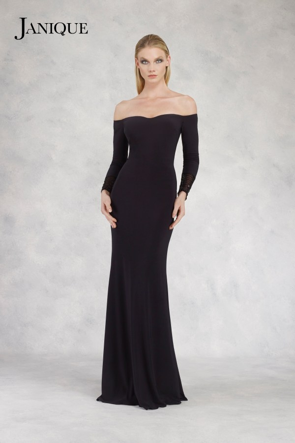 Jersey long dress with long sleeve beaded cuffs. Black jersey gown by Janique. Embroidered cuff long sleeve dress in black.