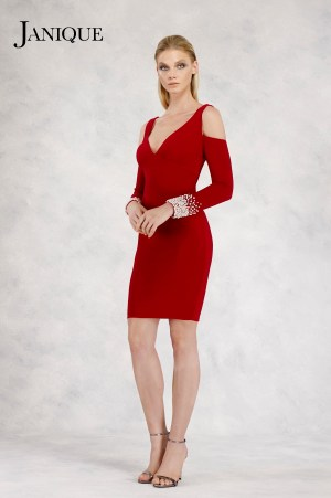 Cocktail jersey pearl cuff cold shoulder sleeves dress. Red short dress with beaded cuffs cold shoulder strap long sleeves.
