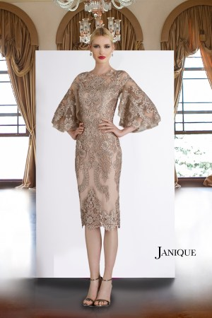 Floral full lace champagne cocktail MOB dress. Lace short dress in champagne with lace applique for mother of the bride.
