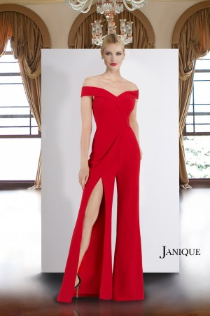 Off the shoulder red jumpsuit. Jumpsuit with slit by Janique in red off the shoulder. Red jumpsuit off the shoulder.