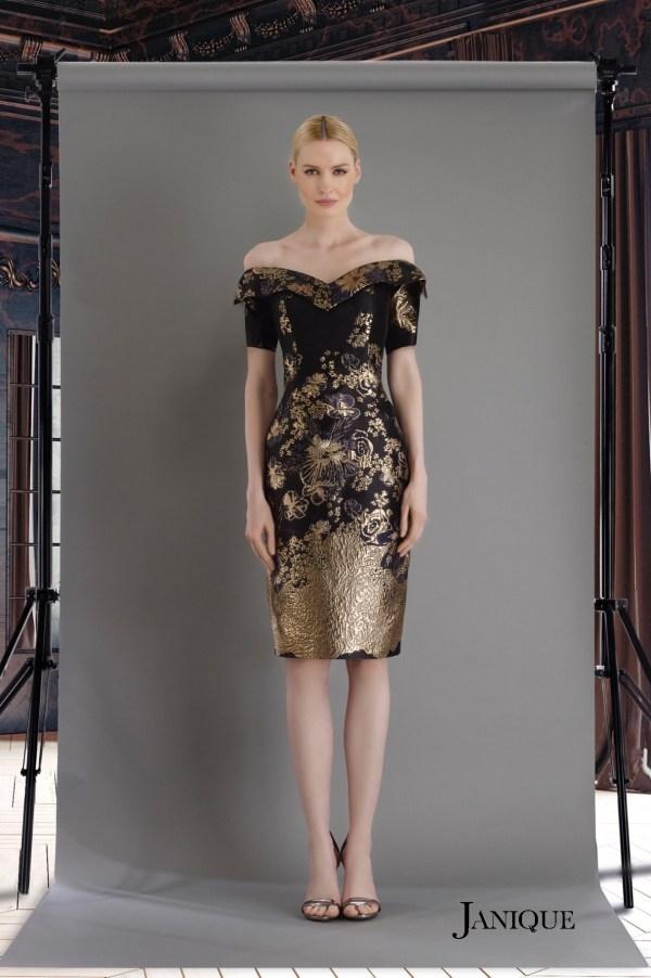 Black metallic jacquard print cocktail dress. Designer short dress in printed jacquard fabric. Jacquard short dress in black.