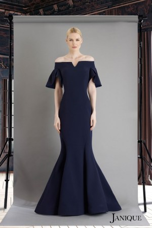 Off the shoulders stretch crepe gown with petal sleeves. Navy long dress with short sleeves by janique.