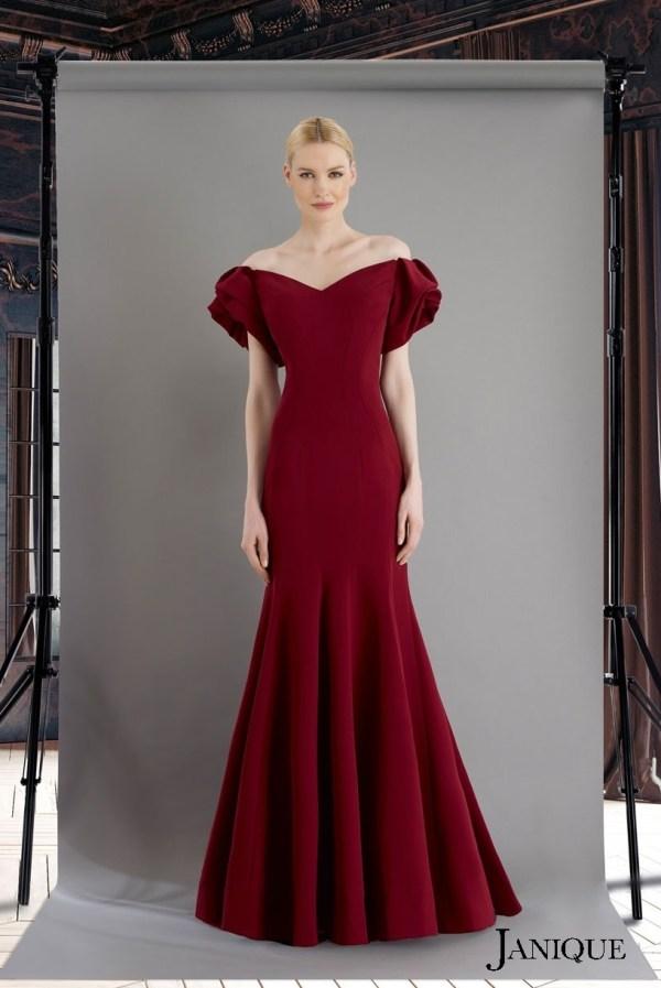 Ruffled cut sleeves evening dress in wine. Short sleeves with ruffled wine long dress. Stretch crepe short sleeves dress.