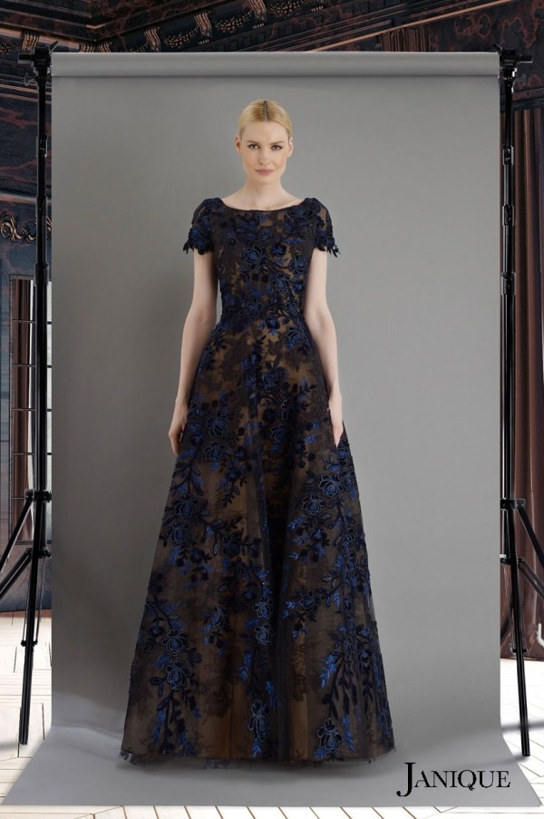 Lace floral long evening dress in black and navy. Designer long gown with lace. Black and navy long dress with floral lace.