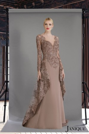 Long sleeve evening gown with lace overlay cape. Stretch crepe long dress in rosewood. Designer long sleeve dress with lace.