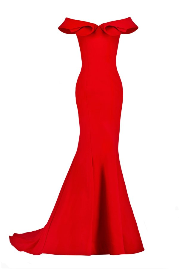 Stretch crepe off shoulder with folded ruffle neckline long gown. Off the shoulder long dress with train in red by Janique.