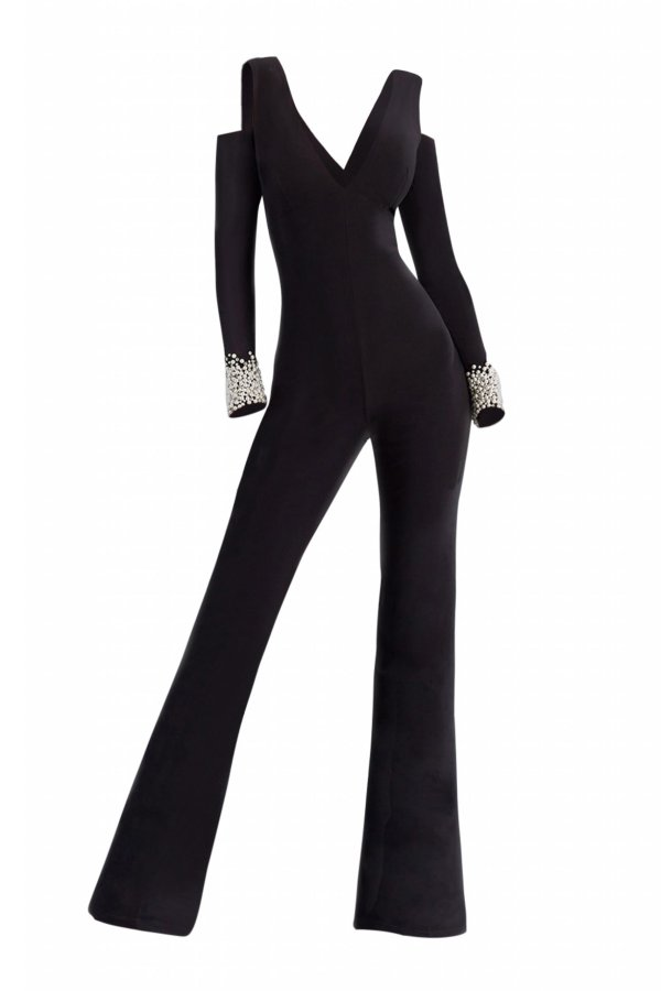 V neckline Jumpsuit. Jersey cold shoulder jumpsuit with pearl cuff sleeves.
