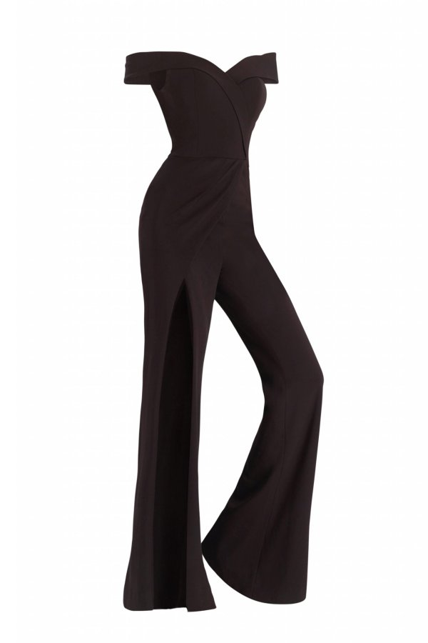 Designer Jumpsuits. Stretch crepe jumpsuit with slit in black. Jumpsuit with slit with off shoulder strap sleeve. Off shoulder jumpsuit in black.