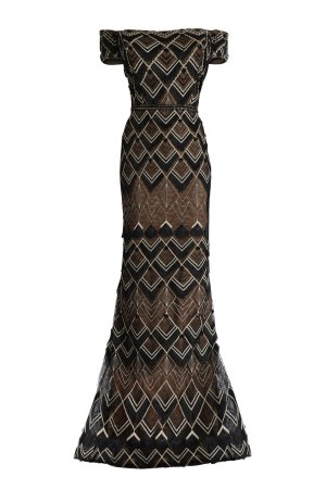 Vintage off the shoulder short sleeve long dress with lace. Black gold Gatsby inspired dress with beaded lace and fringe.
