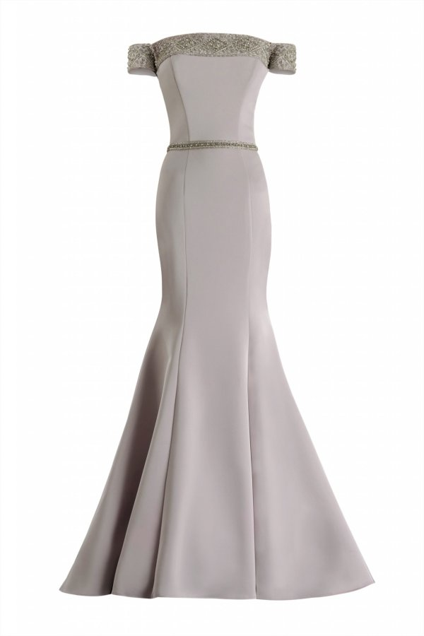 Silver encrusted arm cut sleeves long dress. Beaded waist with sleeve evening gown by janique. Silver stretch crepe gown. Mother of Bride gown