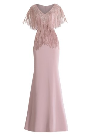 Modest Crepe Gown. Encrusted lace neckline with fringe long dress. MOB long dress by Janique. Beaded fringe mother of the bride gown in mauve.