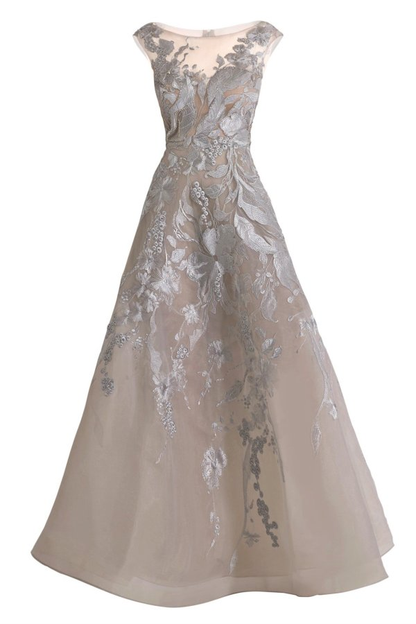 couture Silver lace V-neck dress with floral appliques. Beaded gown with lace applique in gray. Designer beaded gray lace long dress.