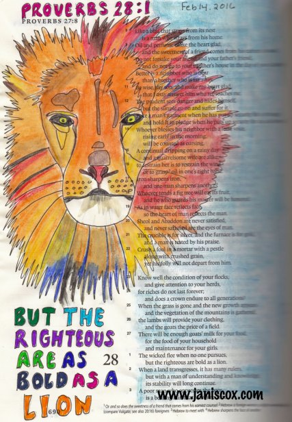 Jesus leads small-watercolour-lion-Bible
