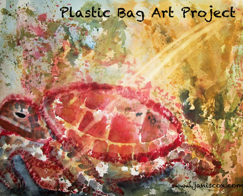 plastic bag Printmaking - Sea Turtle by Janis Cox