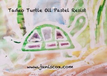 Oil Pastel Resist Tadeo Turtle