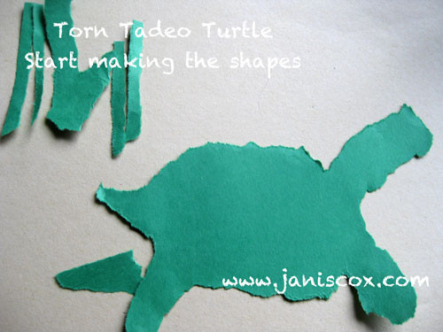 Torn Tadeo Turtle - start tearing the shapes