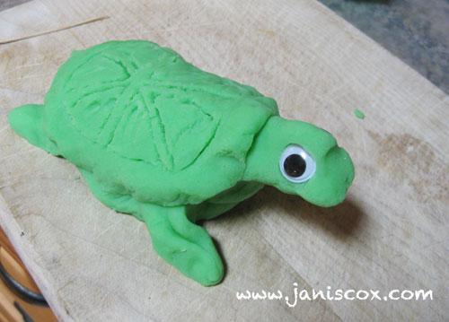 playdough - add shell and googly eyes