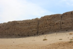the mud brick wall around the excavation site - encloses a huge area and in places is taller than a two story building