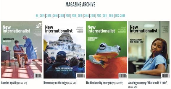 Screenshot of the New Internationalist magazine archive