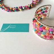 Knitted cuff and crocheted necklace for Janmary Designs