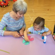 Creating dragonflies at toddler group today