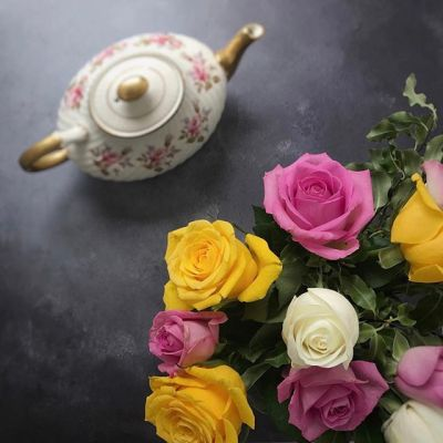 Roses and a vintage teapot