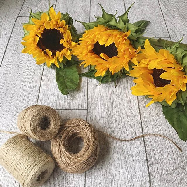Sunflowers and string on a showery day!