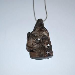 Vedhæng ibenholt med cub zirkoner i sølvfatning