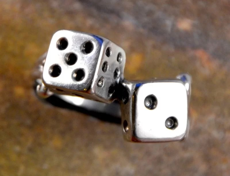 lucky dice 7 silver zilver ring dobbelsteen