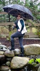 Vest and Boots 4 Ways Happy Stylish Fit Blue Top with Black Rain Boots