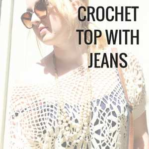 How to style a crochet top for summer. Keep the boho vibe of this cute casual outfit with artisan jewelry, fringe / tassels, and cat eye sunglasses.
