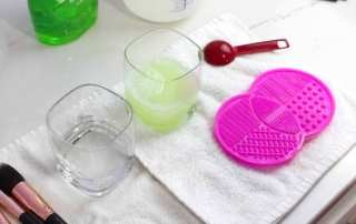 How to clean your makeup brushes at home using a DIY solution.