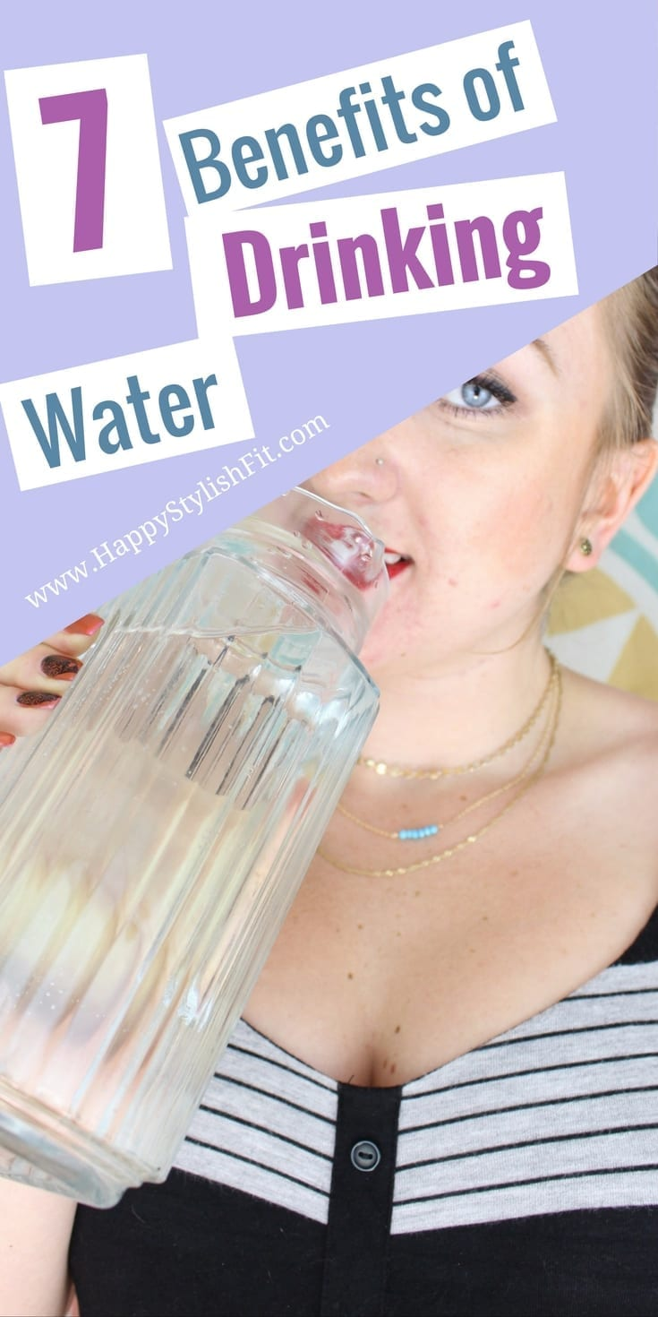 Learn why you should drink water everyday with these 7 benefits of drinking water. Increase your energy, reduce headaches, healthy skin, flush toxins, exercise better, lose weight, prevent hangovers and prevent dehydration.
