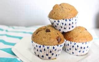 Healthy chocolate chip banana muffins that are sure to please the whole family.