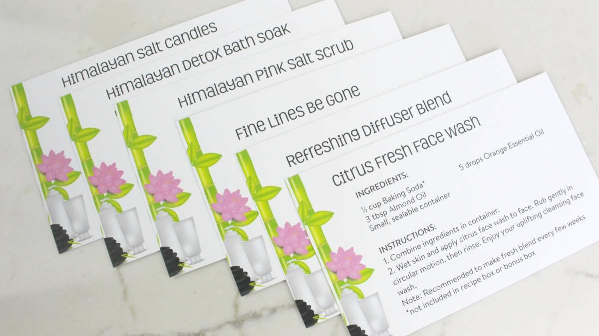 Every box includes 6 recipe cards to create your own DIY natural homemade essential oil products.