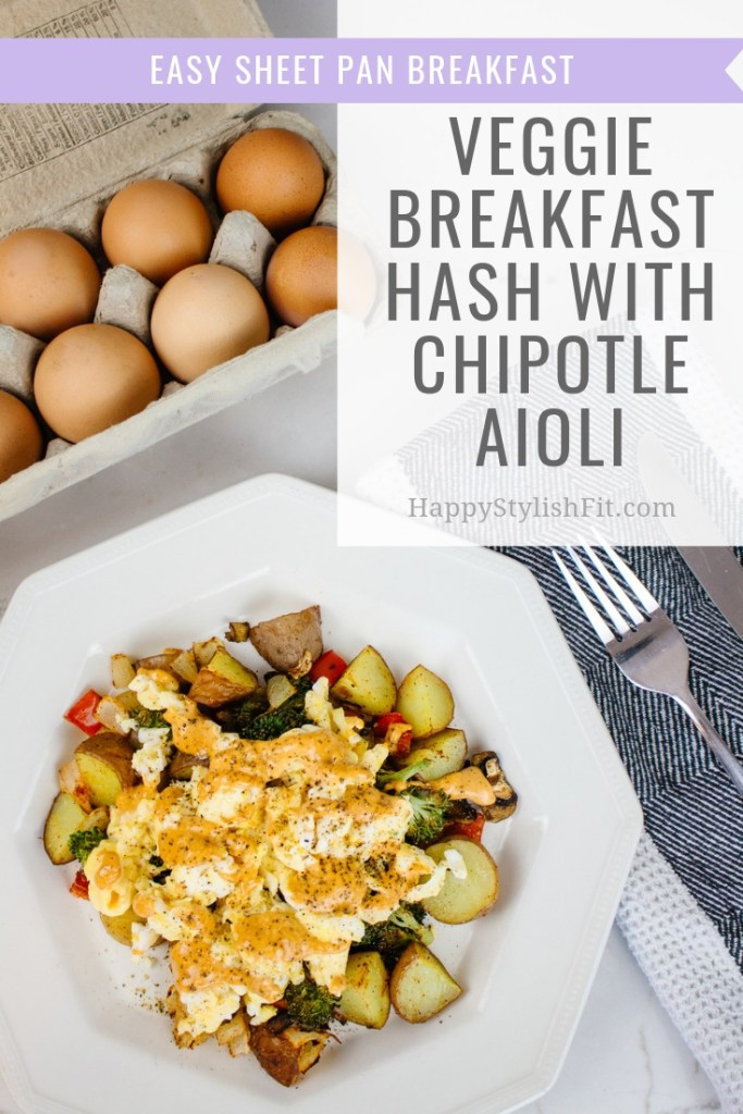 Easy breakfast hash with chipotle aioli perfect for weekend family breakfasts. Easy sheet pan meal!
