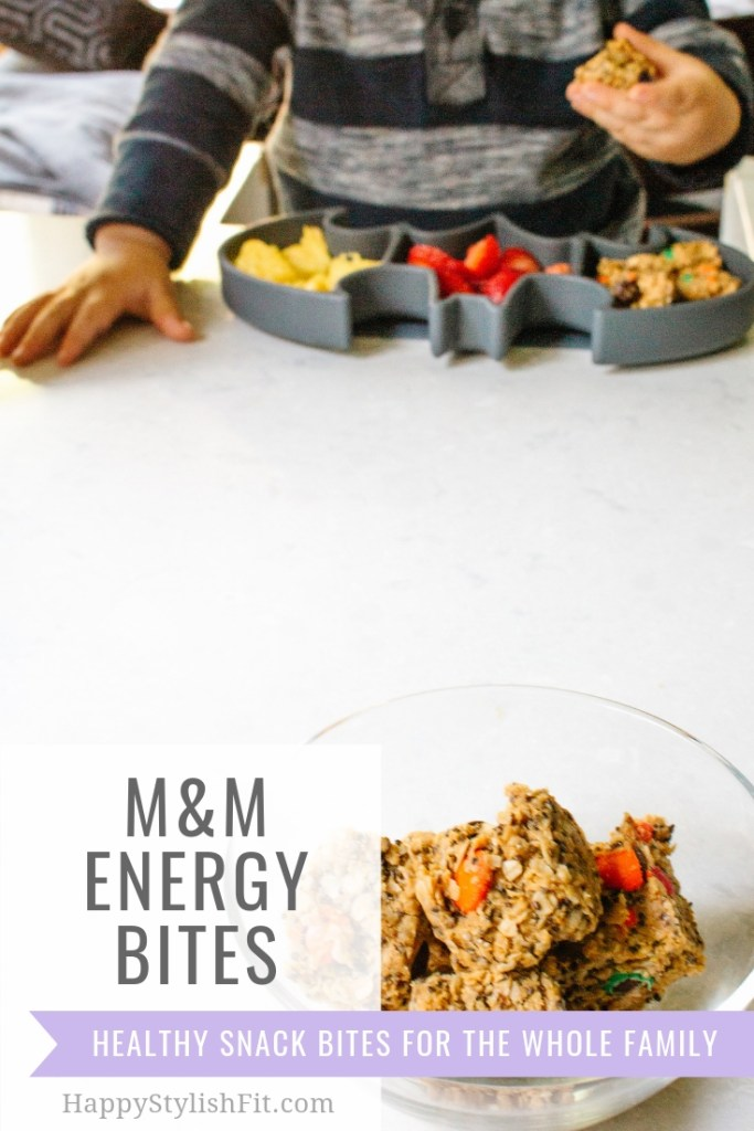 M&M Energy Bites Healthy Snack. These snack bites are easier to make than snack balls with the same great healthy ingredients.