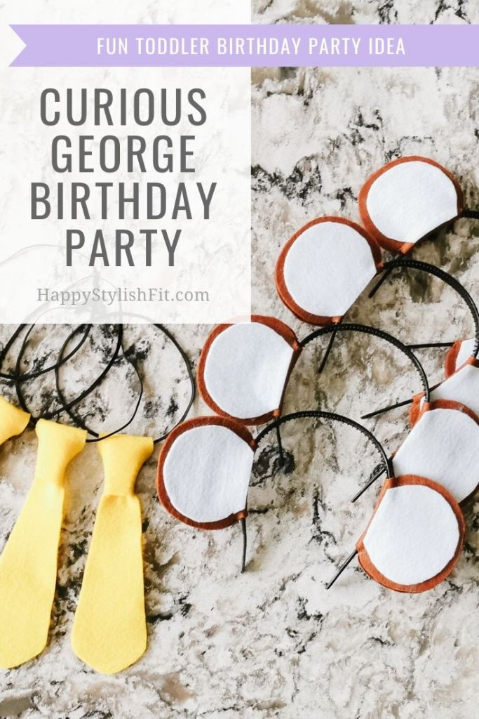 Curious George Birthday Party for toddlers with cute monkey ear and yellow ties for dressup.
