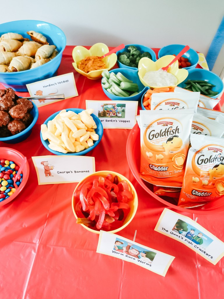 Curious George themed food for a Curious George Birthday Party, perfect for toddler birthday parties.