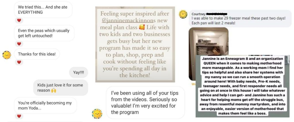 Meal Plan Like a Boss program testimonials for moms of babies, toddlers and young kids.