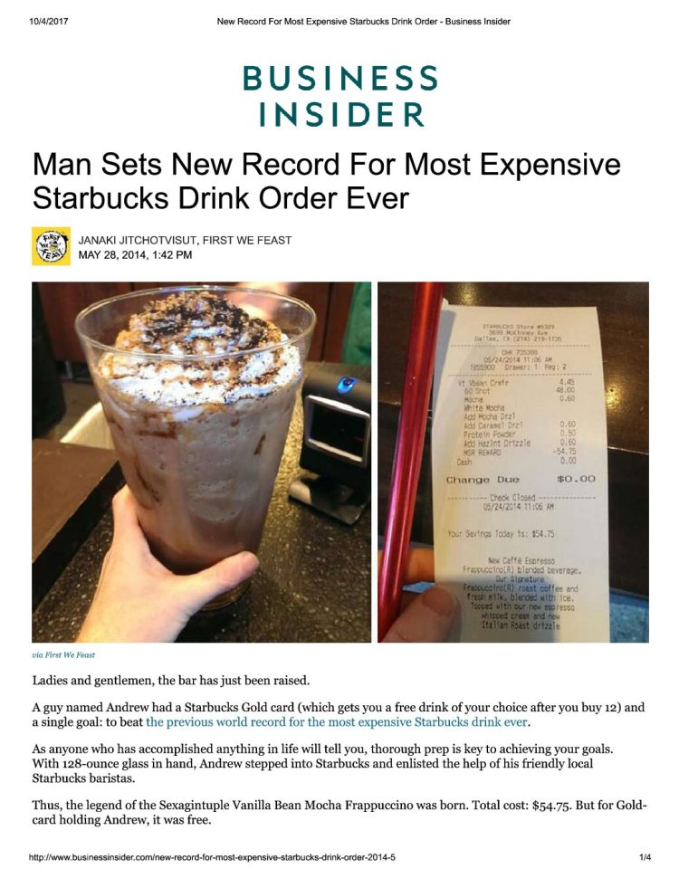 Man Sets New Record for Most Expensive Starbucks Drink Order Ever