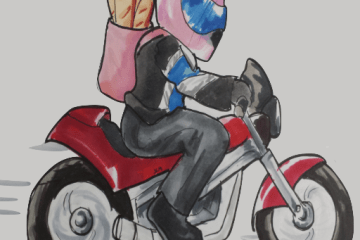 Hand-drawn artwork of me riding a motorcycle with baguettes on my back